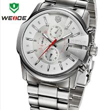 Nueva marca de lujo WEIDE Mens completa de acero inoxidable militar reloj suizo de cuarzo Sapphire 50 M impermeable Diver reloj deportivo calendario