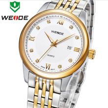 Top Brand New Luxury WEIDE del acero inoxidable calendario de zafiro relojes hombres estilo negocios metros impermeabilizado reloj de cuarzo suizo