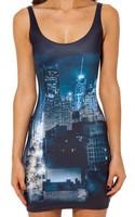 Best Quality 2014 new Women  DARK CITY DRESS Black Milk Cartoon 3D printing in stock free shipping