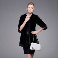Women mink fur long coat with O-neck collar and three quarter sleeves Black mink coats for ladies