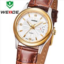 Top Luxury WEIDE calendario completo de cuero genuino de la correa moda mujer visten los relojes de zafiro suizo movimiento de cuarzo reloj 3ATM