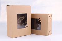 15*20*7.5cm Kraft Paper Box with window Baking Cake Craft Gift packaging Box,Free Shipping