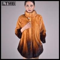 LTMB4629   Golden  genuine mink fur coat for  women three quarter sleeve mandarin collar skirt bottom winter overcoat