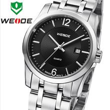 2014 nuevo lujo WEIDE acero inoxidable zafiro calendario estilo de negocios hombres relojes metros Waterproofed cuarzo suizo