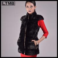 LTMB4637 Luxury women mink fur waistcoat black color slim overcoat mandarin collar polyester lining  short sleeve  2014
