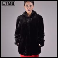 LTMB classical item Women black mink fur coat with fur hood collar Natural sable fur coat for ladies