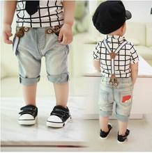 Free shipping 2014 new children pants baby leisure cowboy pants boy shorts(China (Mainland))