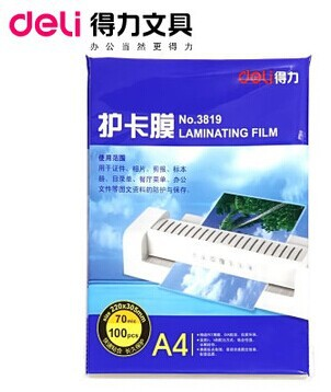 Brand deli Plastic film / Over Plastic / laminating film for A4(China (Mainland))