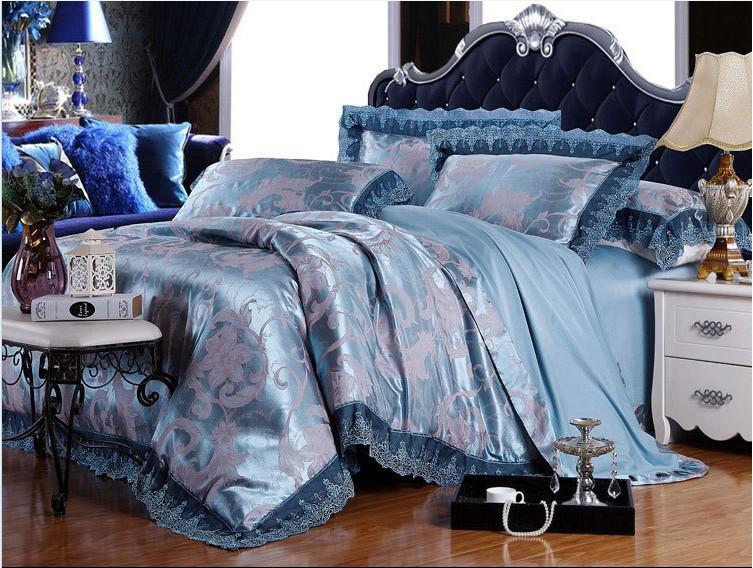2014 PROMOTION summer bedding set king size 4pc tribute silk jacquard comforter set queen bed set bed linen(China (Mainland))