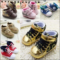 Hot sell newborn baby grid first walkers little kids Velcro belt shoes footwear free shipping