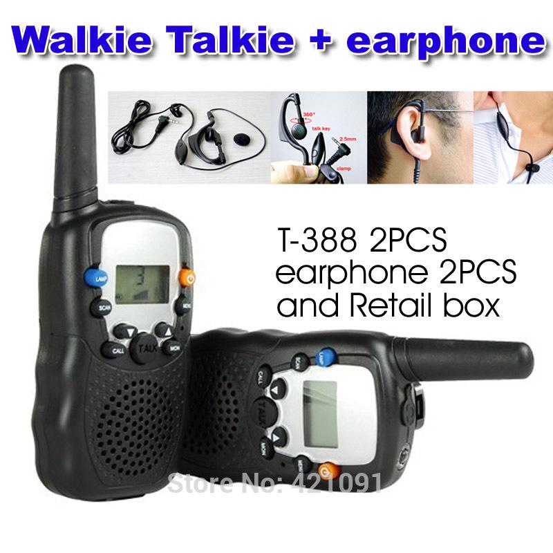 22 Kanäle Monitor-Funktion mini walkie talkie Reise t-388 2 stück zweiwegradio gegensprechanlage mit 2 Stück kopfhörer und retail-box