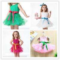 2014 New Summer Fashion Children Clothing Kids Candy Color Solid Dance Skirt Girls Cute Sleeveless Princess Dress