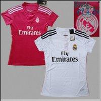 Single top 2014 - 2015 pink real madrid white soccer jersey female slim short-sleeve women jersey