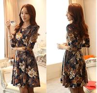Print Slim Women Dress Plus Size 2014 New Fashion  Long Sleeve O-neck Vintage Casual Dress Clothing Free Shipping y2293