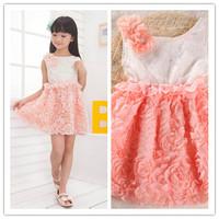 Free Shipping 2014 Summer New Children Girls Dress Rose Flower Chiffon princess dress  kids noble fairy dress high quality