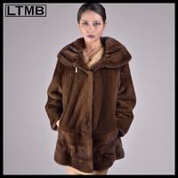 LTMB Luxury women mink fur coat Coffee natural mink fur long coat for ladies with big hood collar
