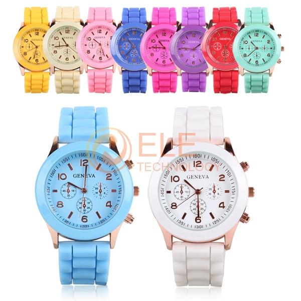 Unisex Quartz watch Analog Plastic Band men women wristwatches Geneva jelly three eye trephine Silicone Sport women Watches(China (Mainland))