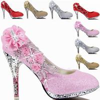 S060102 New 2014 Fashion Flower Rhinestone Wedding Shoes Sexy Dress Shoes Women Pumps Thin Heel Large Size