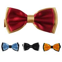 Wholesale 10pcs a lot Men's Solid Double-deck Bow Tie Wedding Party Bowtie 15 Colors Red Blue Gold Black