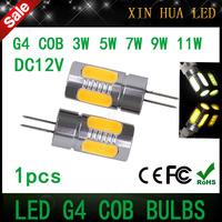 1pcs High quality g4 Cree COB Chip  DC12V Led Bulb Lamps3w 5w  7w 9w 11w  Aluminum Led Light Crystal  Lighting free shipping