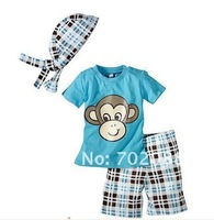 Retail 2014 baby boy clothing set boys t shirt +pants kids clothes sets with Monkey pattern