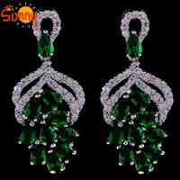 Fashion Vintage  Crystal Drop Chandelier Dangle Emareld  Earrings Earring