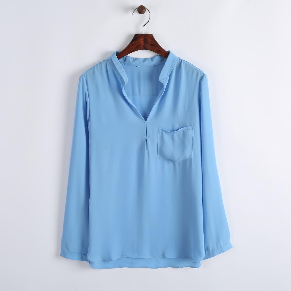 2014 Nova Mulheres 4 Pure Color Casual Chiffon Pockets Blusa Senhora Camisa 0018104702(China (Mainland))