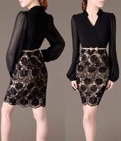 Winter Dress New 2014 Plus Size M-XXXL 4XL 5XL Lace Vintage OL Casual Dress Bandage Long Sleeve Clothing Women Dress Vestidos