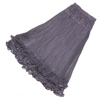 New Arrival 2014 Women Korean Lace Gauze Maxi Skirt With Double Layer Elastic Waist  - Grey