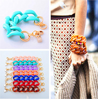 bracelets&bangles pulseira padlock pendant  resin link bracelet In Many Colors 2014 new fashion rock bracelet jewelry