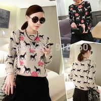 2014 New autumn&winter fashion European style Unicorn pattern Knitted Sweater Women's pullovers warm comfortable tops/11wTL