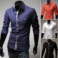 New men's leisure long-sleeved linen shirt Fashion boutique cotton shirt white, black, navy blue, orange