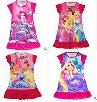 Purple princess big eyes designed specifically for little girl 100% cotton baby pajamas nightgown 4sets/lot
