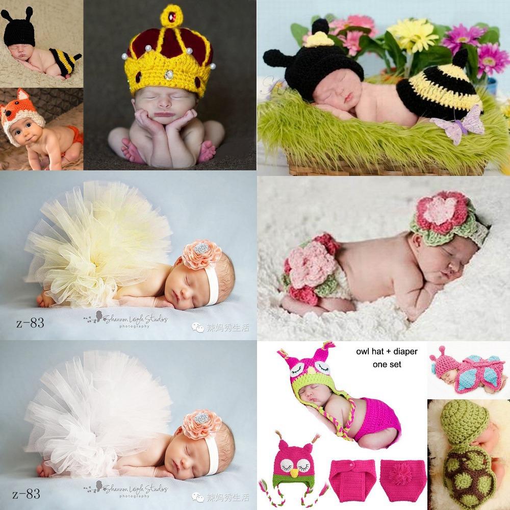 Kids Handmade newborn Baby infant boy prince Girl Costume Animal Beanie photography Props Set Crochet Cloth knitted caps & hats(China (Mainland))