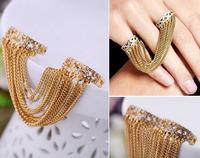 Fashion punk style tassel rhinestone two fingers rings