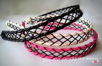 Fashion New Hair accessories metal lattice net braid leather headband hairbands  for women black elegant