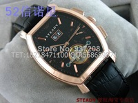 3 Color Top Luxury Mens Tonneau Rose Gold Clock Brand Men Genuine Leather Strap Tourbillon Automatic Mechanical Watches VYC053