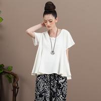 [ LYNETTE'S CHINOISERIE - SUNV ] Summer New Original Design Women National Trend O-neck Short-sleeve Pullover Loose White Shirt