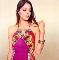 Flying Tomato new arrival Aztec dress Women's Bohemian Print Halter Maxi Dress boho dresses