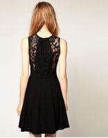 2014 free shipping Bud silk dress Hot sell Hepburn sweet lace female waist dress black