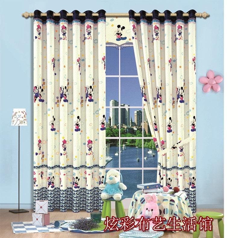 korea cartoon mickey mouse curtains baby blue curtains custom curtains
