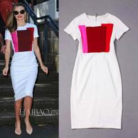 Free Shipping 2014 Victoria Style, Short Sleeve Stretch Cotton Slim Dress 0603HU4034