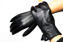 Male deerskin gloves ride sheepskin genuine leather gloves faux thermal gloves autumn and winter