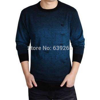 Высокое качество новый 2014 осень зима платье трикотажные свитера мужчины одежда марка свободного покроя рубашка кашемир шерсть пуловер о-образным вырезом толстая 4X