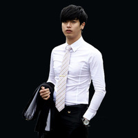 Hot! 2014 winter fashion new Korean version of the British men's business casual shirt Slim solid color long-sleeved shirt