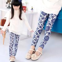 2014 Girl Legging pencil pants blue and white porcelain print children pants Hot Sell leggings for girls kids legging
