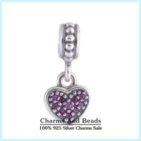 2014 New Pave Zircon Stone Love Heart Dangle 925 Sterling Silver Pendant Thread Charms Fits Pandora Style Bracelets