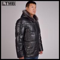 LTMB4653  Men's fashion leather jacket with hood  full sleeve short style  fashion down  leather coat 2014