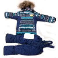 Russia Children's winter clothing set Baby Boy's Ski suit sport sets windproof warm coats suit fur Jackets+bib pants+ wool vest