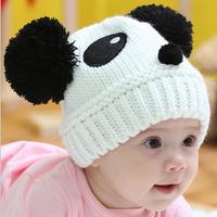 Free shipping 5pcs/lot 8 colors New Arrival Baby girl boy lovely crochet hat Handmade knitted panda hat kids winter cap headgear